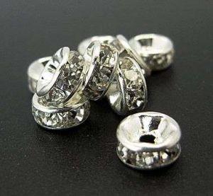 Šatonová rondelka 8x3,5 mm,50 ks,stříbrná/čirá