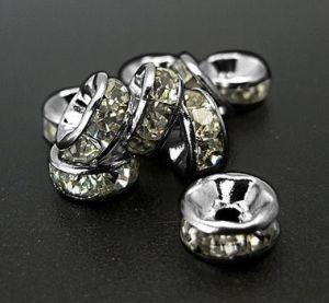 Šatonová rondelka 7x3,5 mm, 50 ks, stříbrná/čirá