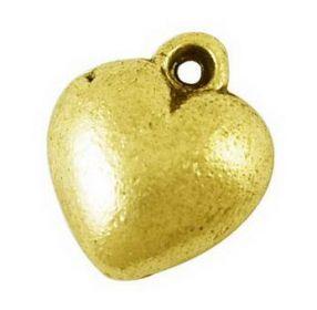 Přívěsek srdíčko 13 mm, 20 ks, antik zlatá