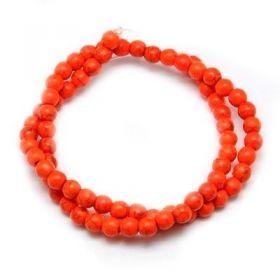 Zvětšit fotografii - Tyrkys, syntetický, kulička 6 mm, 67 ks, oranžová
