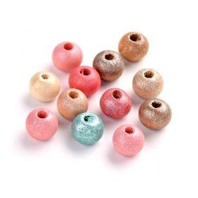 Dřevěné korálky 8 mm, 100 ks, mix barev