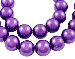 Zvětšit fotografii - Voskované perle 8 mm, 110 ks, tmavě fialová