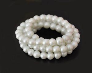 Voskované perle 8 mm, 106 ks, matná bílá