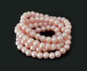 Voskované perle 8 mm, 106 ks, matná růžová