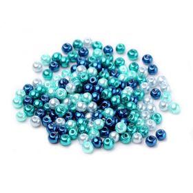 Skleněné perle 4 mm, 100 ks, mix modrá