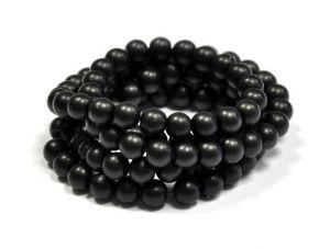 Voskované perle 8 mm, 106 ks, matné černé