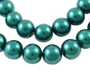 Voskované perle 6 mm, 140 ks, modrozelená