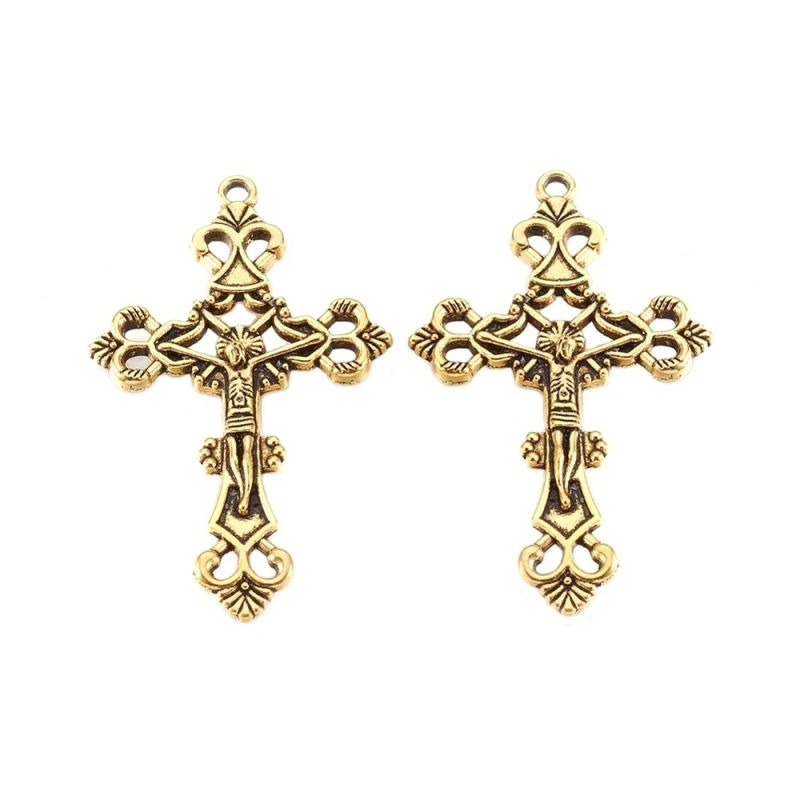 Filigránový kříž 43x26 mm, antik zlatá
