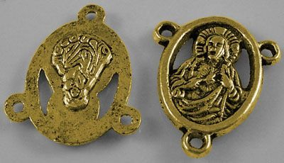 Spojka na růženec 18x15 mm, antik zlatá