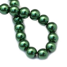 Voskované perle 6 mm, 146 ks, tmavě zelená