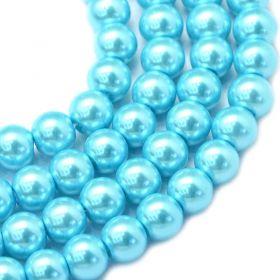 Voskované perle 6 mm, 146 ks, tyrkysové