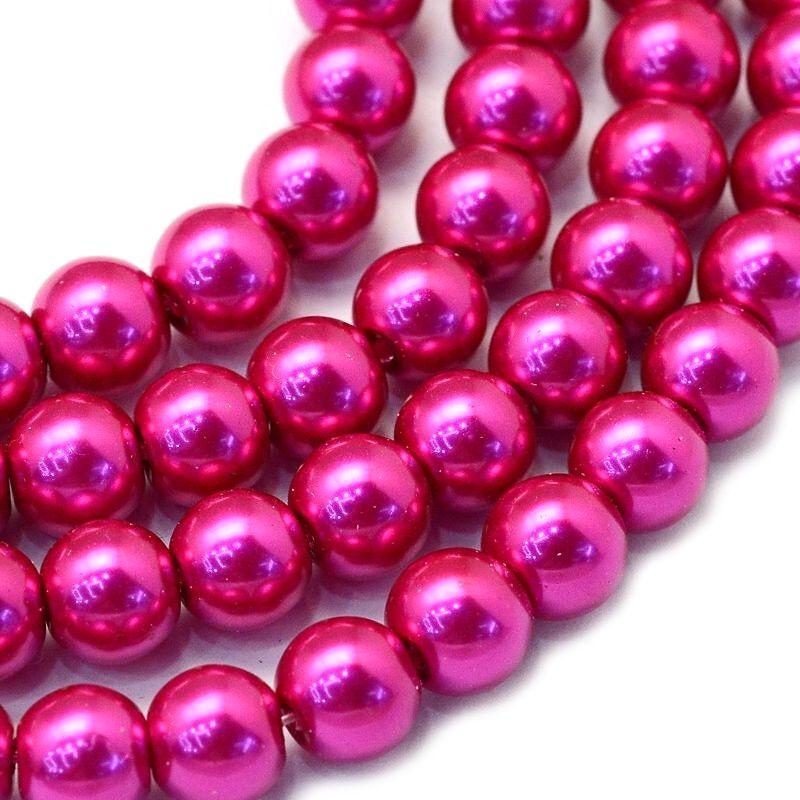 Voskované perle 6 mm, 145 ks, kamélie