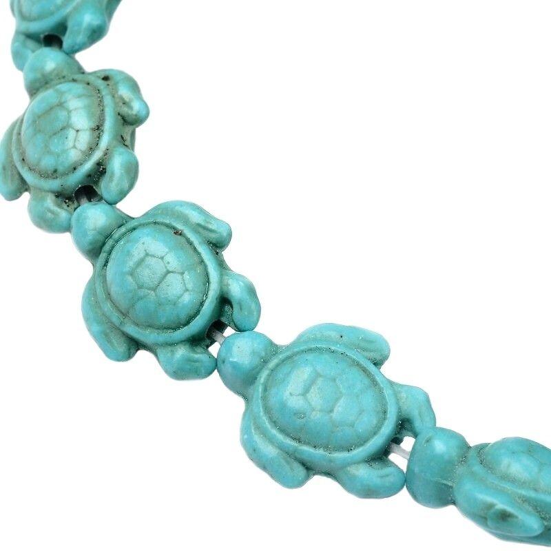 Želva ze syntetického tyrkysu 15x12x6 mm, modrozelená