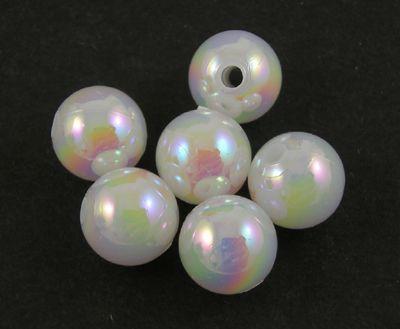 Akrylové korálky 4 mm, 100 ks, bílé s AB pokovem