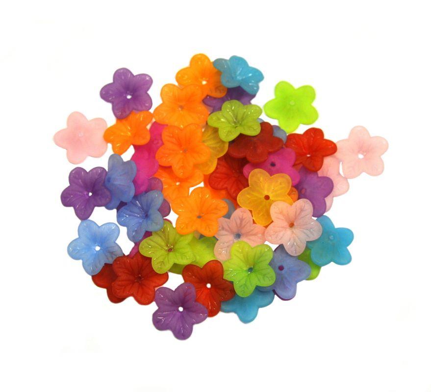 Akrylové květy 18 mm, 50 ks, mix barev