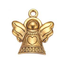 Anděl se srdíčkem 21 mm, 20 ks, antik zlatá
