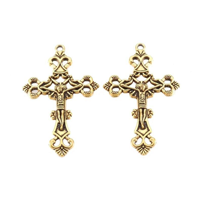 Filigránový kříž 43x26 mm, 10 ks, antik zlatá