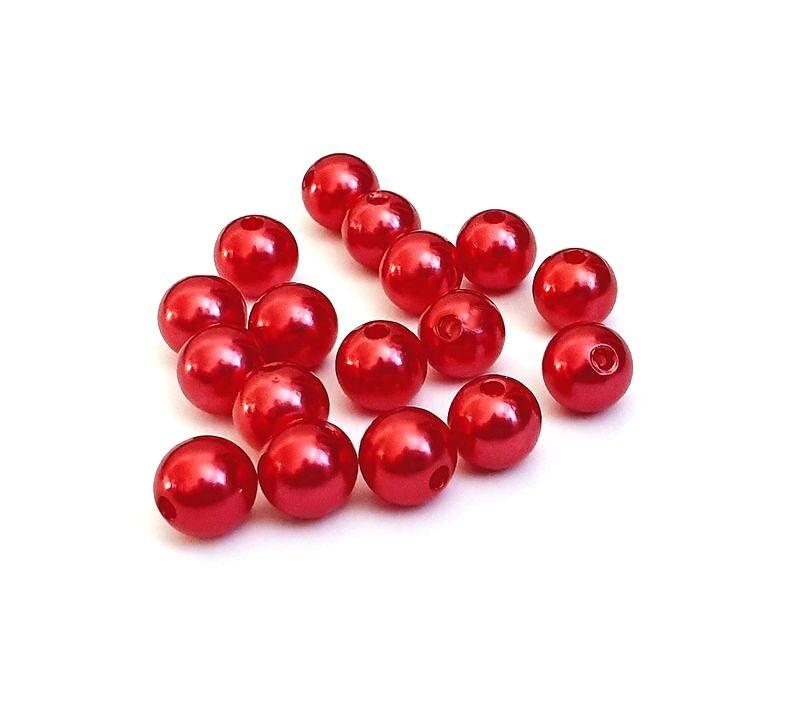 Imitace perly 10 mm, 20 ks, červená