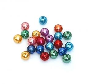 Imitace perly 10 mm, 50 ks, mix barev