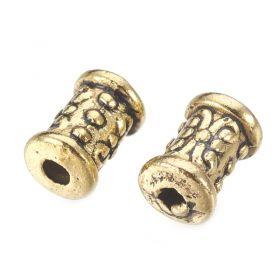 Korálky 5x7 mm, 20 ks, antik zlatá