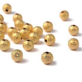 Kovový korálek 6 mm, 20 ks, zlatý