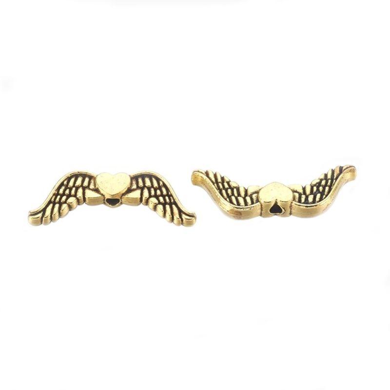 Křídla anděla se srdíčkem 20x7 mm, 50 ks, antik zlatá