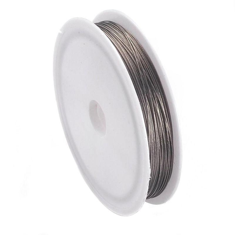 Ocelové lanko 0,45 mm, 50 metrů na špulce, platinová barva
