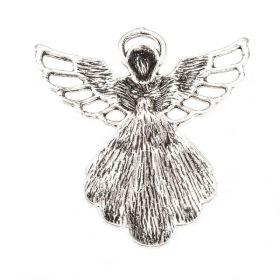 Přívěsek anděl 42x39 mm, starostříbrná barva