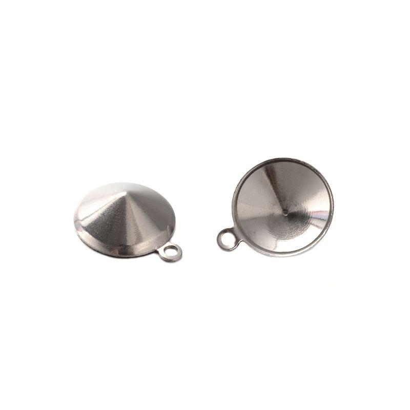 Přívěsek kotlík na kabošon 8 mm, chirurgická ocel 304