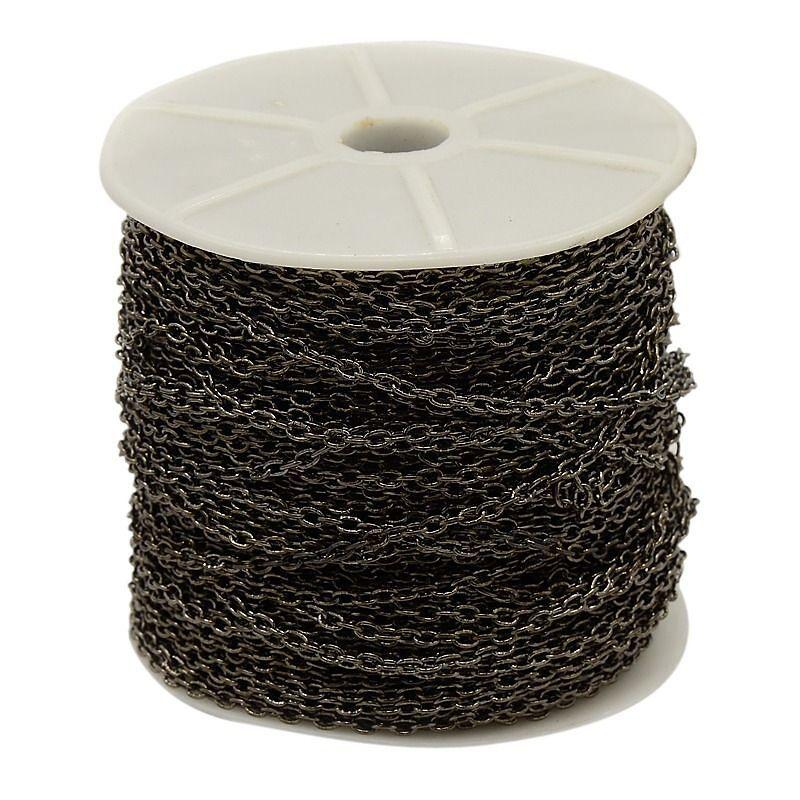 Řetízek zdobený středně jemný 3x4 mm, 1 m, černý
