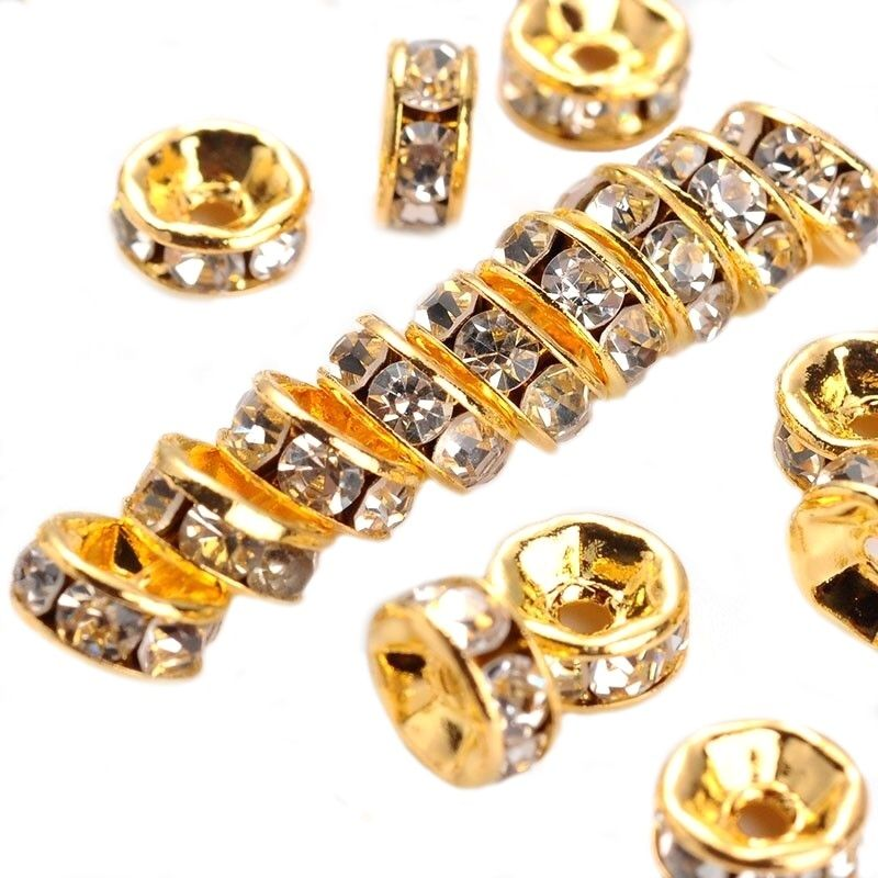 Šatonová rondelka 6x3 mm, třída A, 50 ks, zlatá/čirá