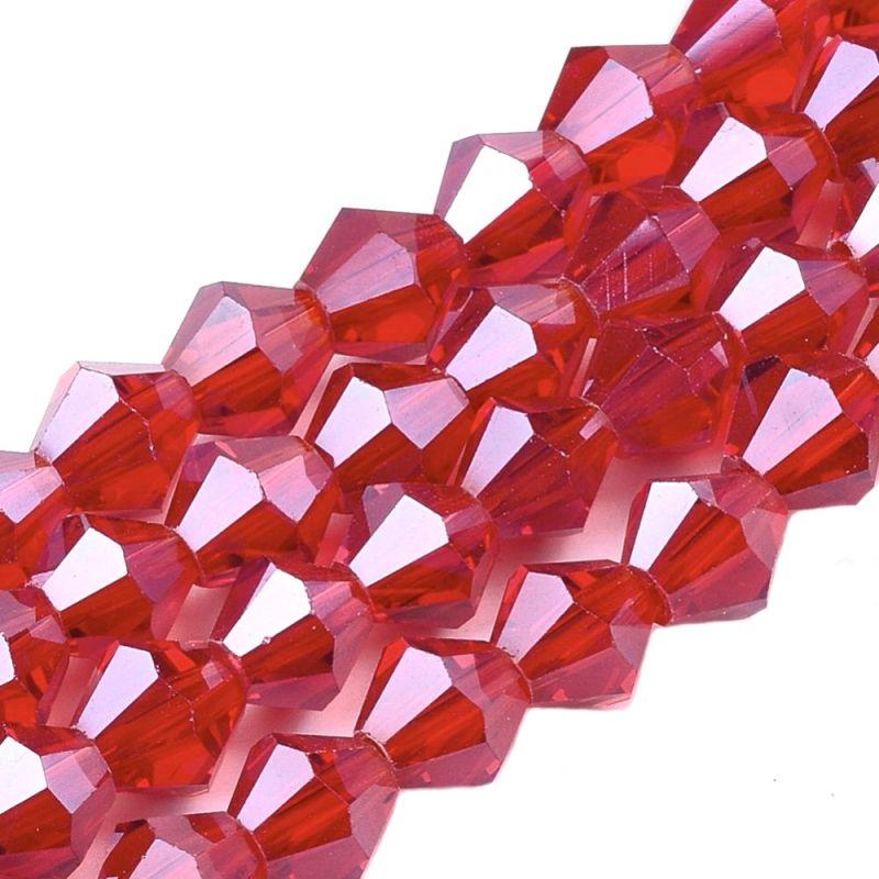 Skleněné sluníčko 6 mm, 51 ks, červená s lustovým pokovem