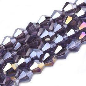 Skleněné sluníčko 6 mm, 51 ks, fialová s AB pokovem