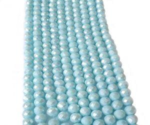 Slavík 8x6 mm, 72 ks, plnobarevná akvamarínová s AB pokovem