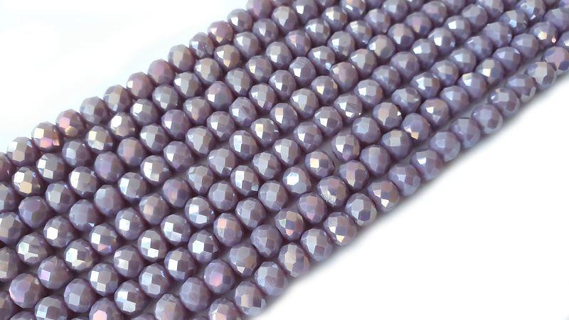 Slavík 8x6 mm, 71 ks, plnobarevná šedofialová s AB pokovem
