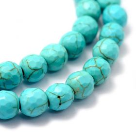 Syntetický tyrkys fazetovaný, 6 mm, 68 ks, modrý
