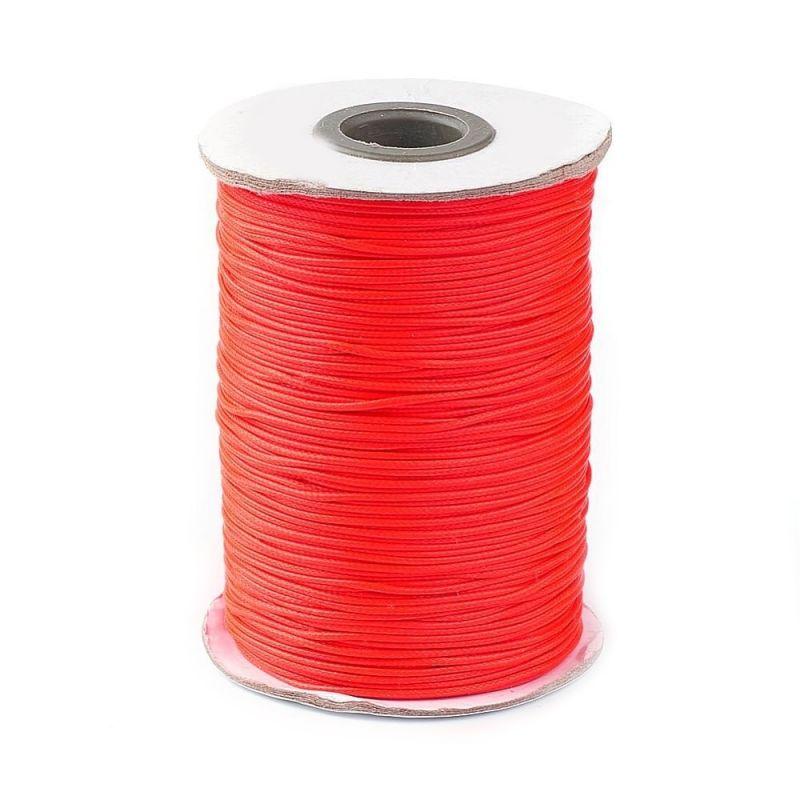Voskovaná šňůra lesklá 1 mm, cena za 1m, červenooranžová