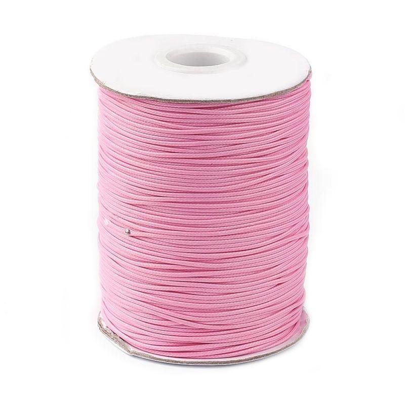 Voskovaná šňůra lesklá 1 mm, cena za 1m, světle růžová