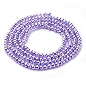 Voskované perle 4 mm, 216 ks, světle fialová