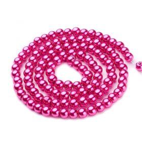 Voskované perle 4 mm, 216 ks, tmavě růžová