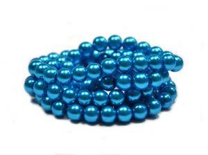 Voskované perle 6 mm, 140 ks, tmavě tyrkysové