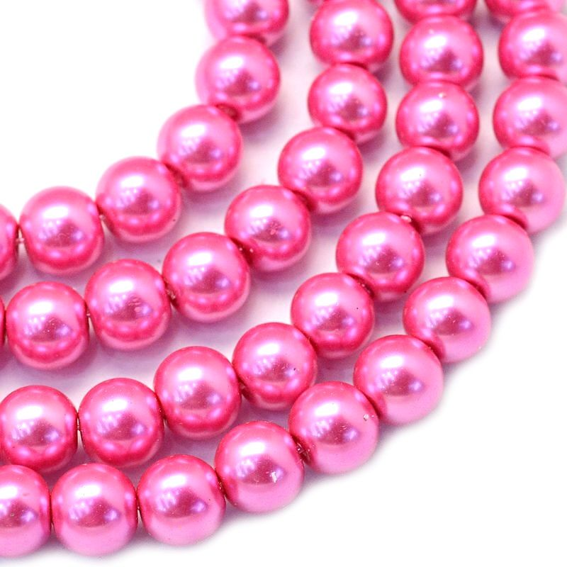 Voskované perle 8 mm, 106 ks, tmavě růžová