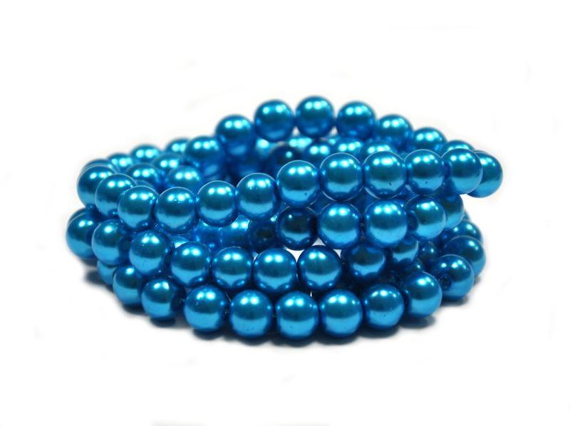 Voskované perle 8 mm, 106 ks, tmavě tyrkysové