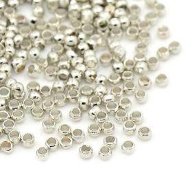 Zamačkávací rokajl kuličky 2 mm, 100 ks, platinový