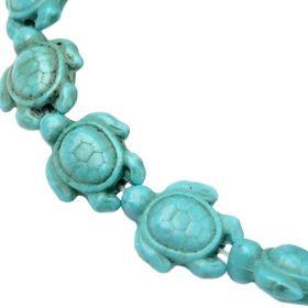 Želva ze syntetického tyrkysu 15x12x6 mm, 28 ks, modrozelená