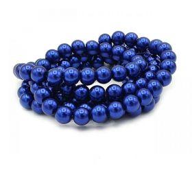 Voskované perle 6 mm, 136 ks, tmavě královská modrá