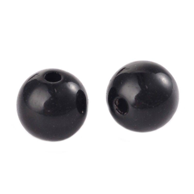 Akrylové korálky 8 mm, 50 ks, černá barva