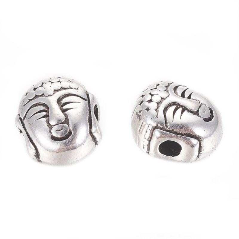 Korálek hlava Buddhy 8x7 mm, 20 ks, starostříbrná barva