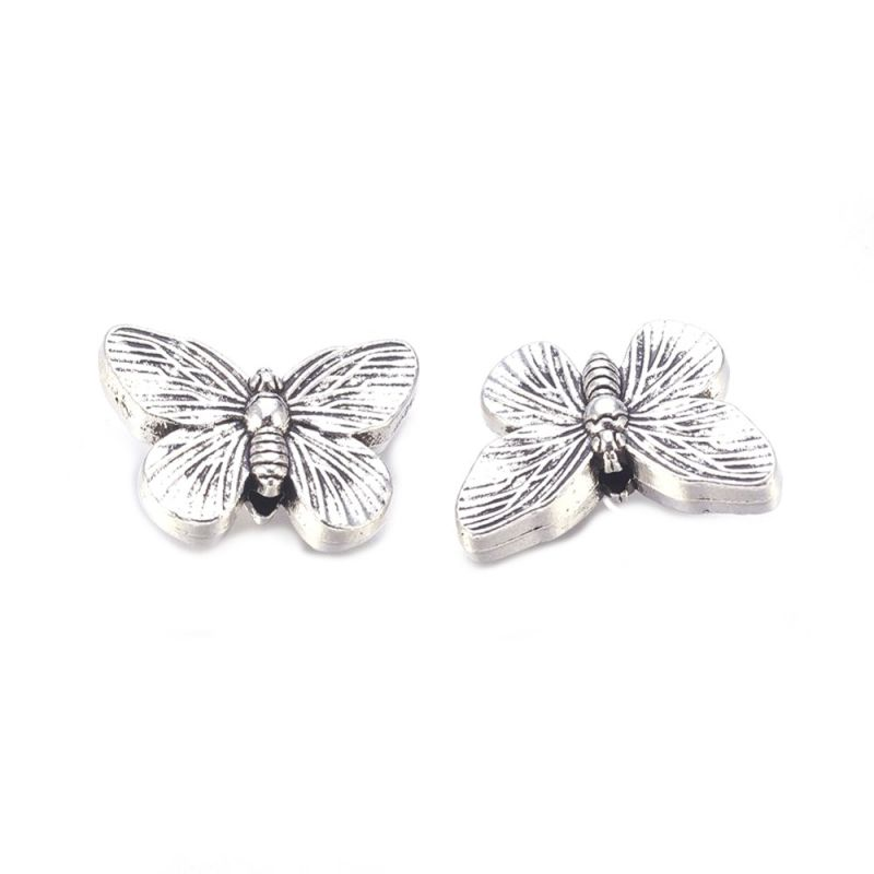 Korálek motýlek 18x14 mm, 10 ks, starostříbrná barva