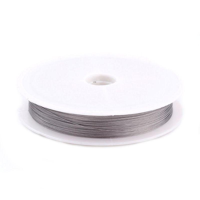 Ocelové lanko 0,30 mm, 50 metrů na špulce, platinová barva